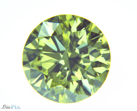 0.67 Ct. Round Brilliant I1 Fancy Vivid Greenish Yellow