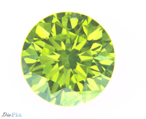 0.74 Ct. Round Brilliant SI2 Fancy Vivid Greenish Yellow