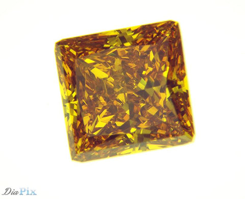 1.53 Ct. Princess VS1 Honey Vivid Orange