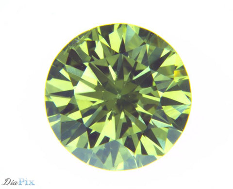 0.68 Ct. Round Brilliant SI1 Fancy Vivid Greenish Yellow