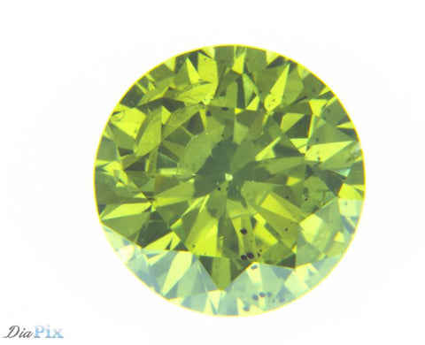 0.66 Ct. Round Brilliant I1 Fancy Vivid Greenish Yellow