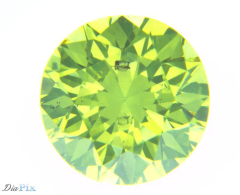 0.76 Ct. Round Brilliant SI1 Fancy Vivid Greenish Yellow