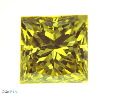 0.75 Ct. Princess SI1 Fancy Intense Yellow