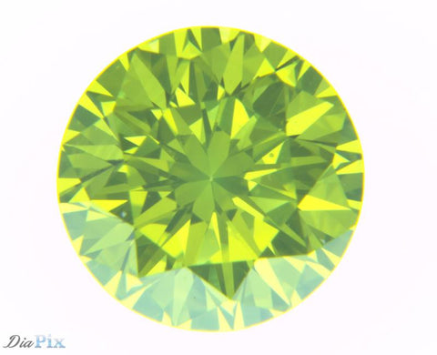0.64 Ct. Round Brilliant VS1 Fancy Vivid Green Yellow