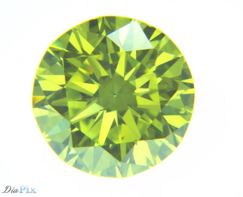 0.64 Ct. Round Brilliant VS2 Fancy Vivid Greenish Yellow