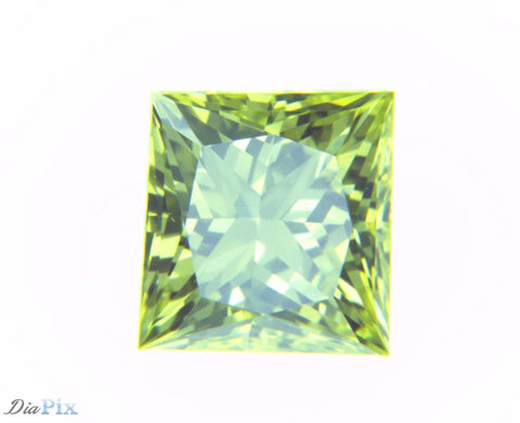 0.56 Ct. Princess VS1 Fancy Vivid Greenish Yellow