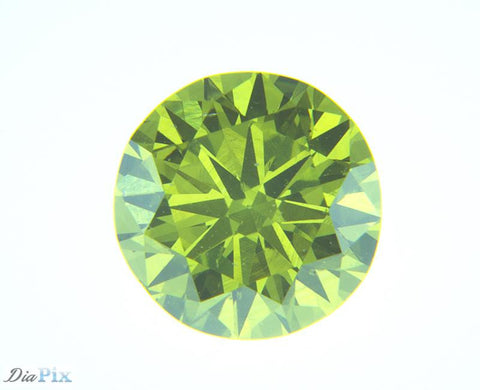 0.53 Ct. Round Brilliant VS2 Fancy Vivid Green-Yellow