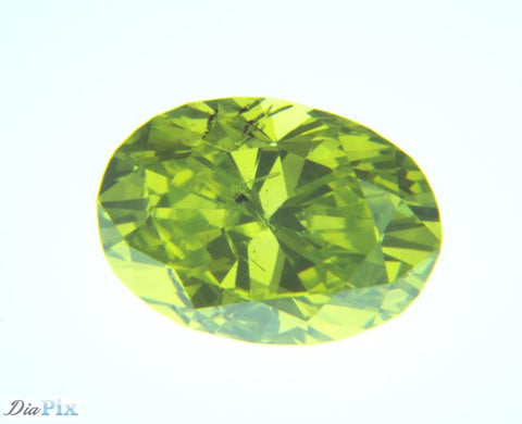 0.70 Ct. Oval Brilliant SI2 Fancy Vivid Greenish Yellow
