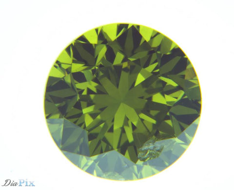 0.93 Ct. Round Brilliant I2 Fancy Medium Green