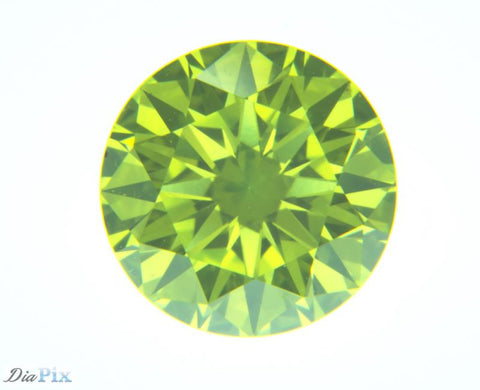0.58 Ct. Round Brilliant VS1 Fancy Vivid Green-Yellow