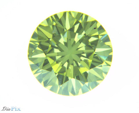 0.53 Ct. Round Brilliant VS2 Fancy Vivid Greenish Yellow