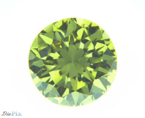 0.61 Ct. Round Brilliant SI2 Fancy Vivid Greenish Yellow