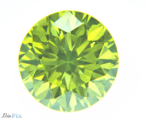 0.71 Round Brilliant VS2 Fancy Vivid Greenish Yellow