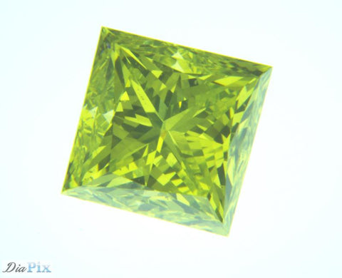 1.17 Ct. Princess VS1 Fancy Vivid Greenish Yellow