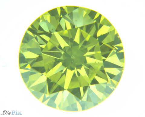 0.72 Round Brilliant VS2 Fancy Vivid Yellowish Green
