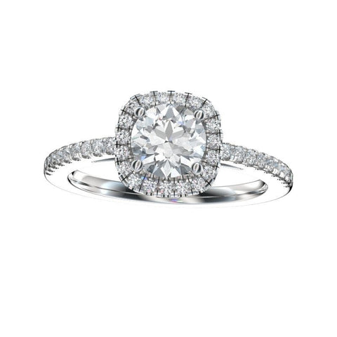 0.83 Ct. TW. D VS1 Cushion Shaped Halo Engagement Ring in 14k White Gold