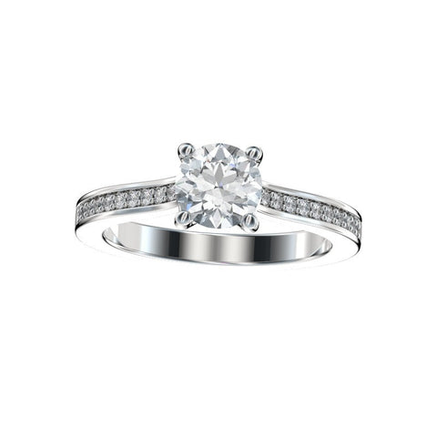 0.87 Ct. TW. D VVS2 Faux Trellis Bead Bright Engagement Ring in 14k White Gold
