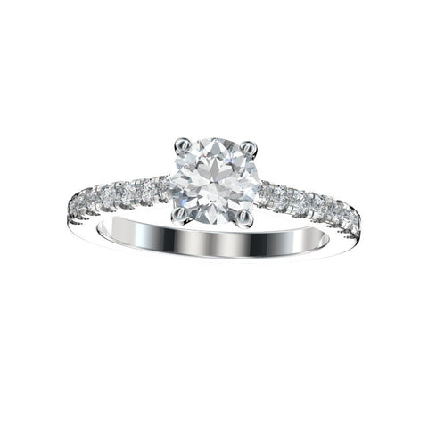 Faux Trellis Split Prong Scalloped Engagement Ring 0.28 Ct. TW. (Setting Only)