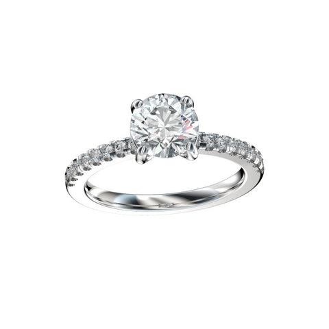 0.96 Ct. TW. D VVS2 Split Prong Scalloped Basket Engagement Ring in 14k White Gold