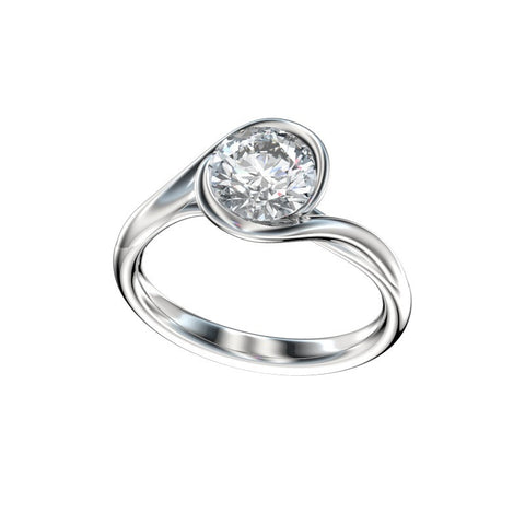 Interlocking Bezel Loop Solitaire Engagement Ring (Setting Only)