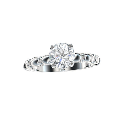 Four Prong Sculptural Solitaire Engagement Ring 0.54 Ct. TW. (Setting Only)