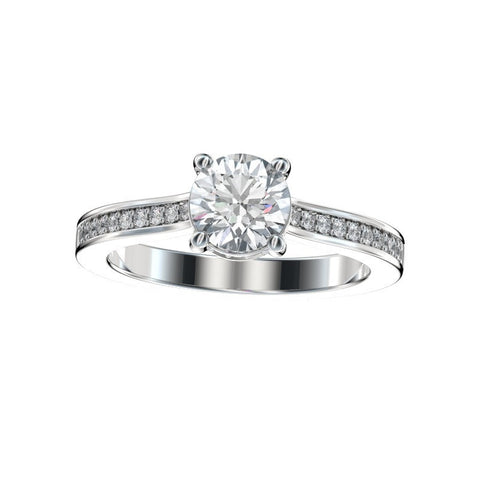 Faux Trellis Bead Bright Diamond Gallery Engagement Ring 0.18 Ct. TW. (Setting Only)