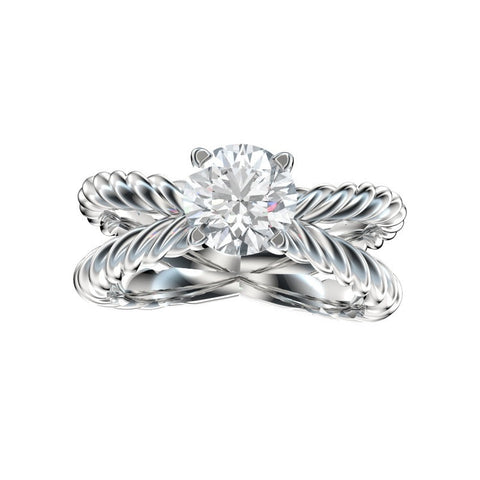 Rope Cross Open Solitaire Engagement Ring (Setting Only)