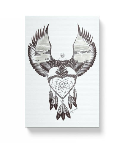 Eagle Heart Dreamcatcher Wrap Around Canvas Print
