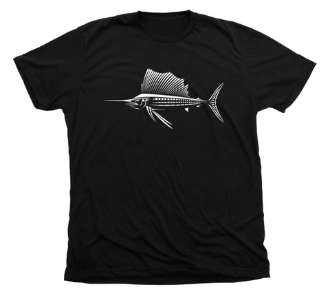 Sailfish T Shirt - Black Deep Sea Fishing Shirt