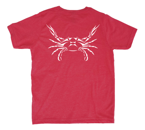 Crab Kids T-Shirt - Red Heather Crab Shirt - Back