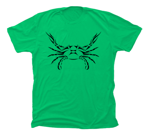Blue Crab T-Shirt - Green - Design on Front