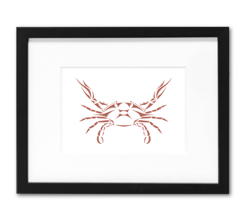 Blue Crab Mini Art Print | 5x7 Inch Nantucket Red Crab Artwork