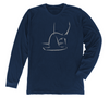 Hammerhead Long Sleeve T-Shirt | Navy Shark Tee Front Design