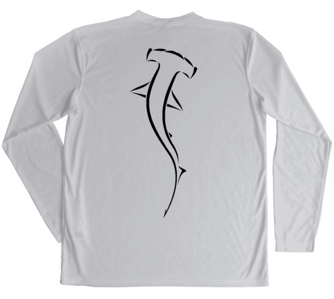 Hammerhead Shark Swim Shirt - Grey UV Protective Performance Shirt