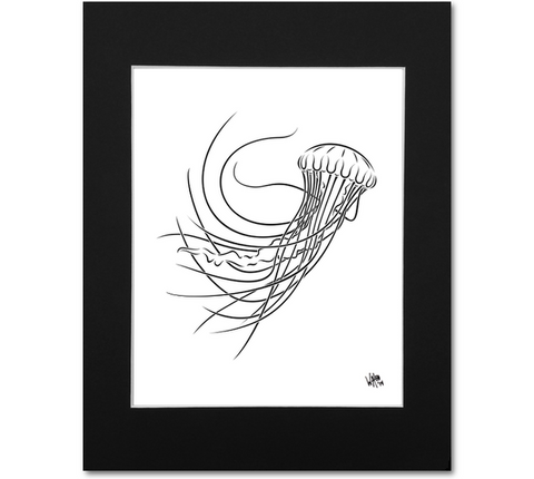 Jellyfish Art Print | Sea Nettle Wall Art Black & White