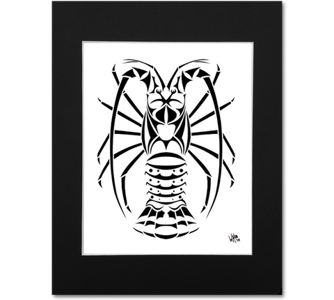 Spiny Lobster Art Print - Florida Lobster Matted Abstract Artwork