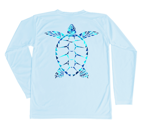 Kids Loggerhead Sea Turtle Sun Shirt - Light Blue Long Sleeve Swim Shirt