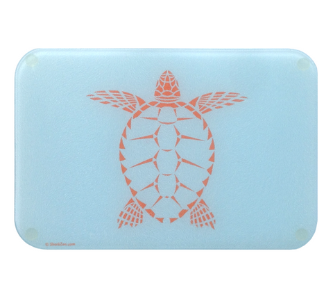 Sea Turtle Cutting Board | Small Glass Artistic Counter Top Cutting Board