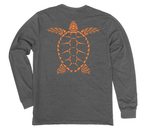 Sea Turtle Long Sleeve T-Shirt | Loggerhead Turtle Grey Scuba Shirt