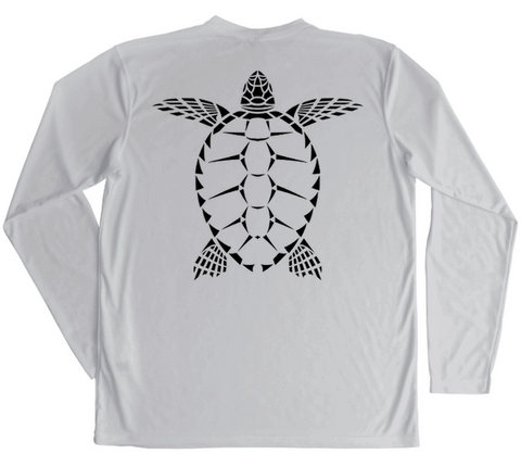 Mens Swim Shirt - Sea Turtle - Grey UV Protective Long Sleeve