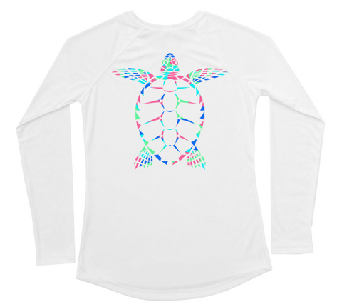Womens Long Sleeve UV Tropical Sea Turtle Swim Shirt