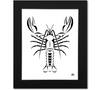 Maine Lobster Art Print - Black Mat 16x20 Print