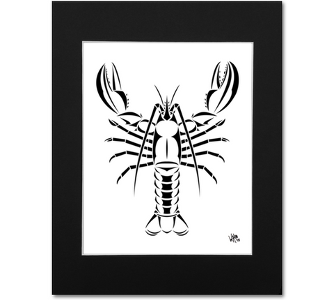 Maine Lobster Art Print - Black Mat 8x10 Print