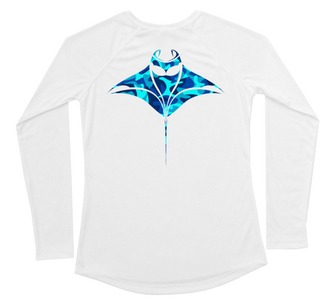Womens Long Sleeve UV Water Camouflage Manta Ray Swim Shirt