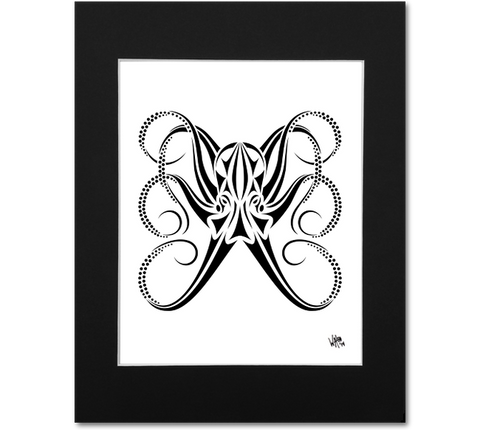 Octopus Wall Art Print - Tribal Black and White Abstract Artwork
