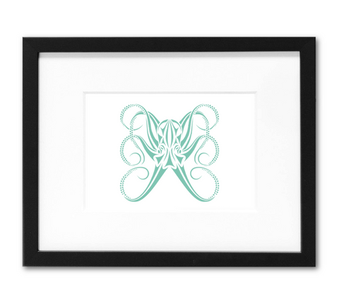 Octopus Mini Art Print | 5x7 Inch Tribal Octopus Aqua Artwork