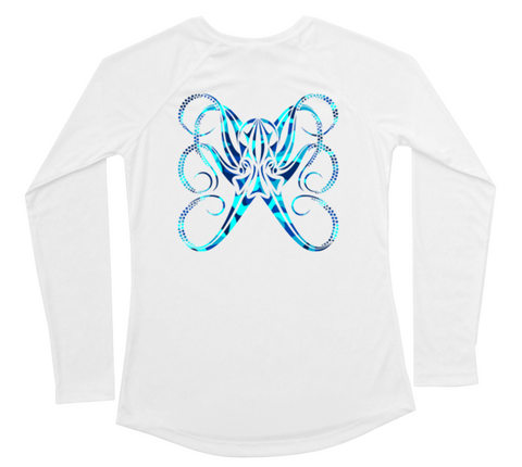 Womens Long Sleeve UV Water Camouflage Octopus Swim Shirt