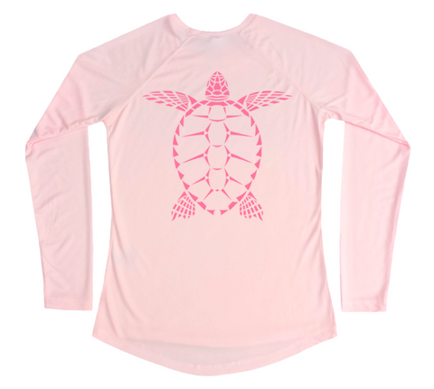 Women's Sea Turtle UPF Shirt - Pink UV Swimming Shirt