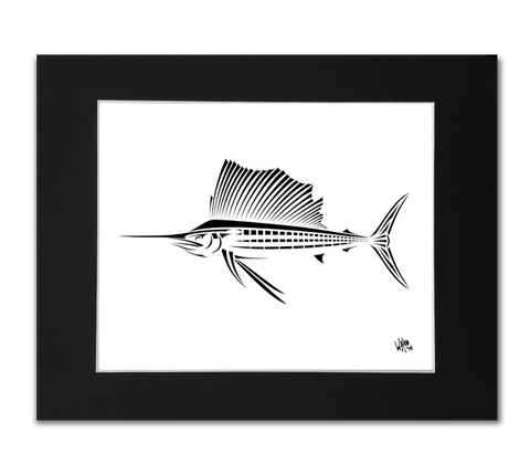 Sailfish Wall Art Print - Museum Quality Black And White Billfish Artwork