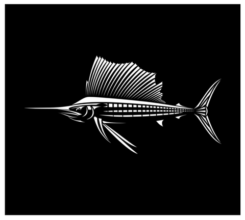 Sailfish Decal - Vinyl Fishing Sticker For Car Window or Boat